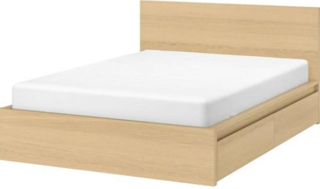 Malm Bed frame, high, w 2 storage boxes