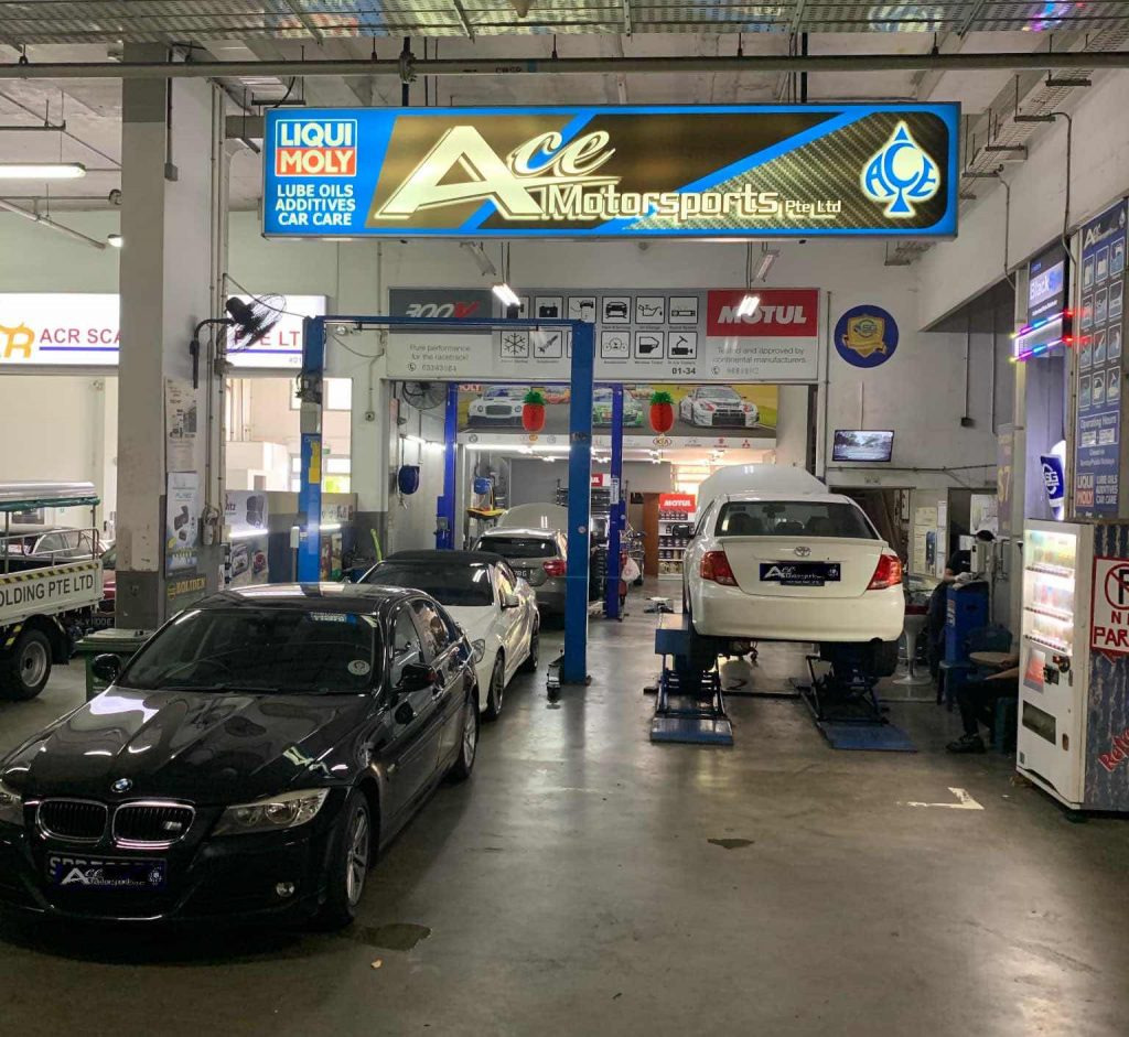 workshop of Ace Motorsports, one of the workshops offering car servicing in Singapore