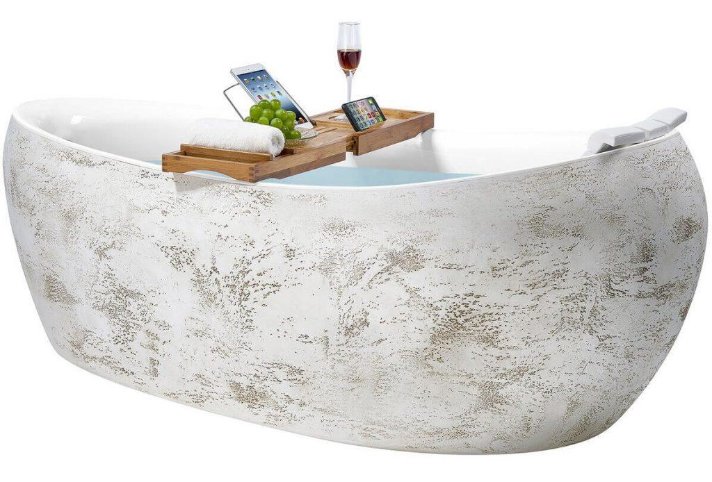 69 Inch Freestanding Modern Acrylic Rock Pattern Soaking Tub