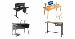 four computer desks against white background