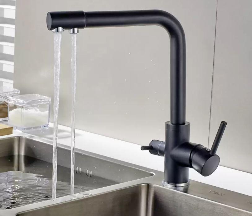 Deck mounted mixer kitchen tap