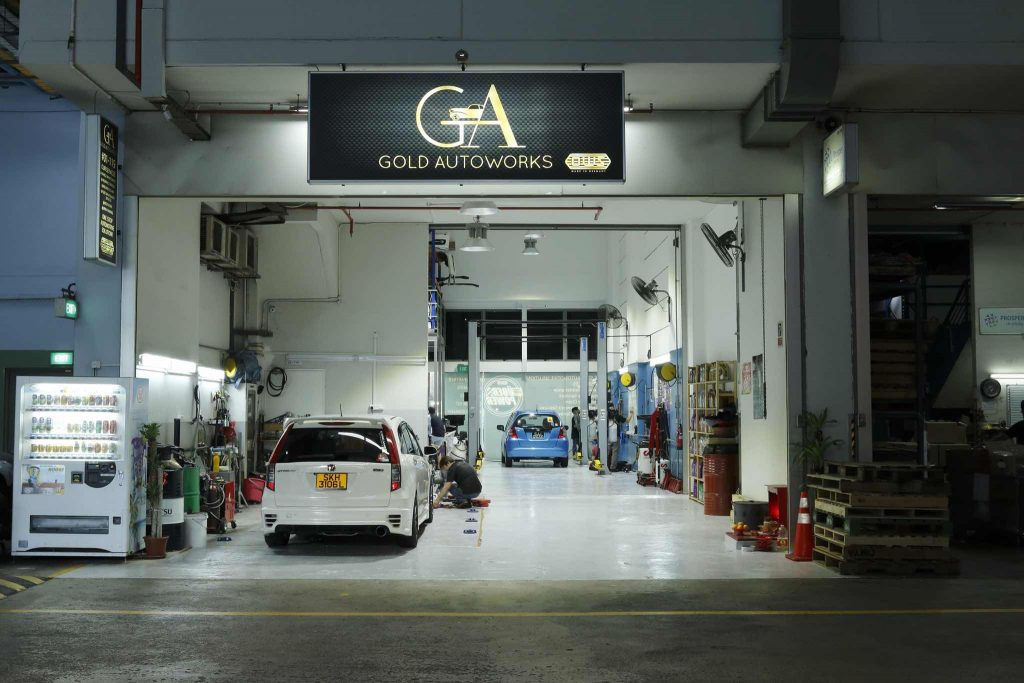 view of Gold Autoworks car workshop, a workshop offering car servicing in Singapore
