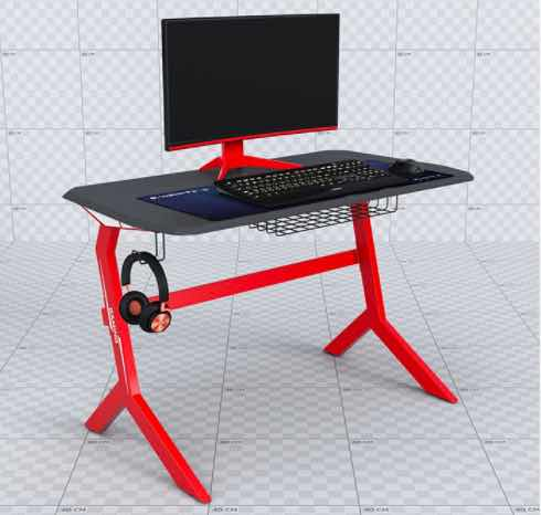 a black and red Holin multi-functional gaming desk