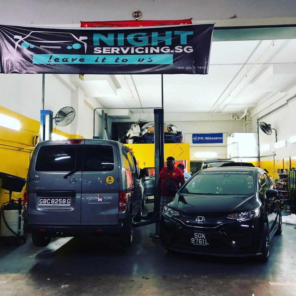 View of Night Servicing car workshop