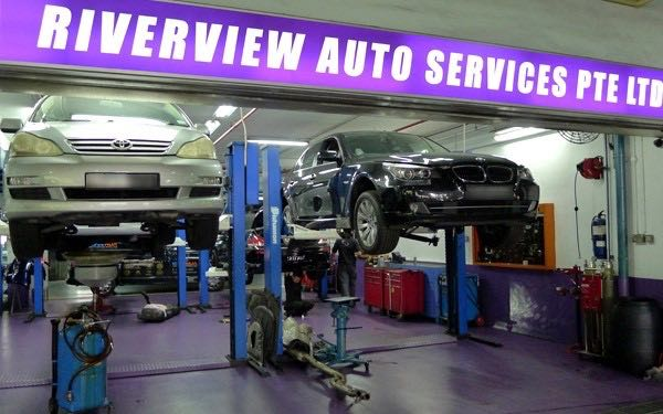 entrance of Riverview Auto Servicing, a workshop offering car servicing in Singapore