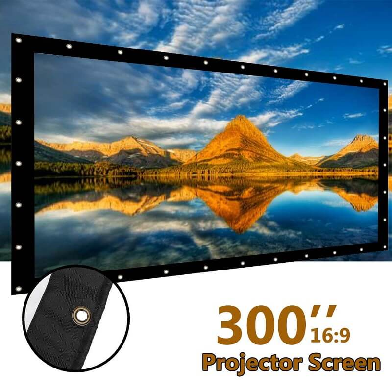 300 inch Projector Screen White Projection Screen Foldable 16:9 Home Theater Movie LED Projector for Wall Projection