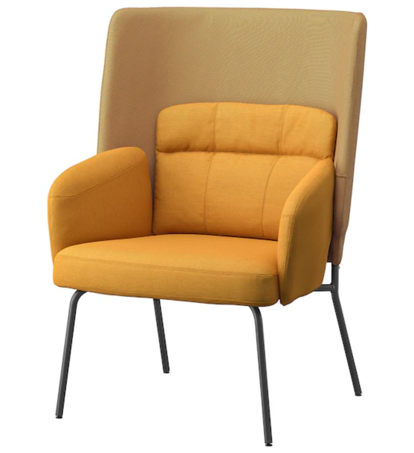 BINGSTA High-back chair, Vissle dark yellow, Kabusa dark yellow