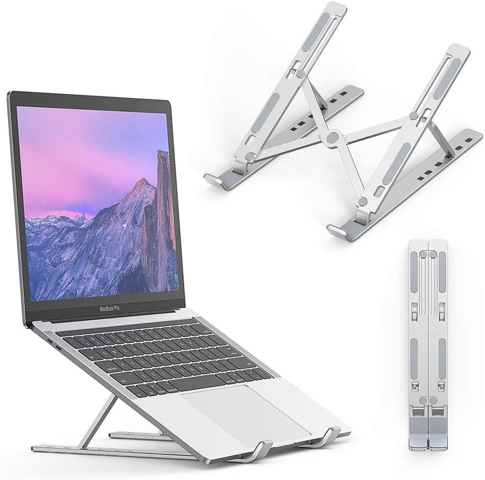 Ergonomic Foldable Aluminium Laptop Table Stand w Adjustable Eye-Level Design