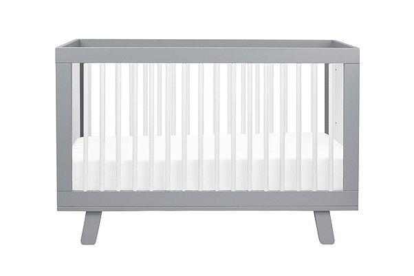 Hudson 3-in-1 Convertible Crib (Grey/White)
