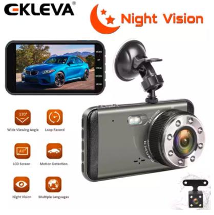 the EKLEVA Dual Dash Cam HD Front And Rear, Night Vision Car Camera