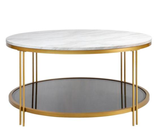 Gold Round Marble Metal and Glass Coffee Table