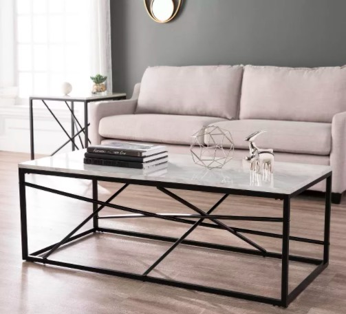 Arendale Faux Marble Coffee Table Matte Black - Aiden Lane