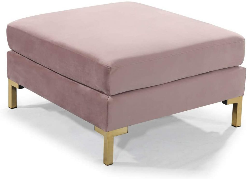 Iconic Home Girardi Modular Chaise Ottoman Coffee Table Cushion Velvet Upholstered Solid Gold Tone Metal Y-Leg Modern Contemporary, Blush