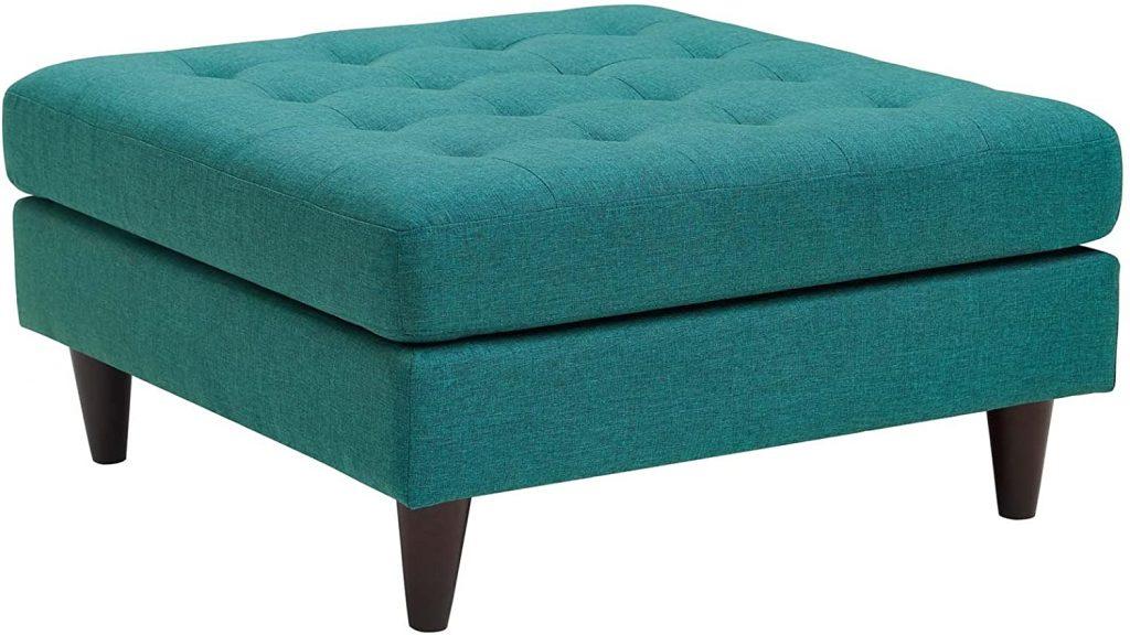 Modway EEI-2139-TEA Empress Mid-Century Modern Upholstered Fabric Large Ottoman, Teal