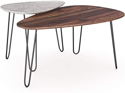Nathan James Bodhi Mid-Century Nesting Coffee Table Set of 2