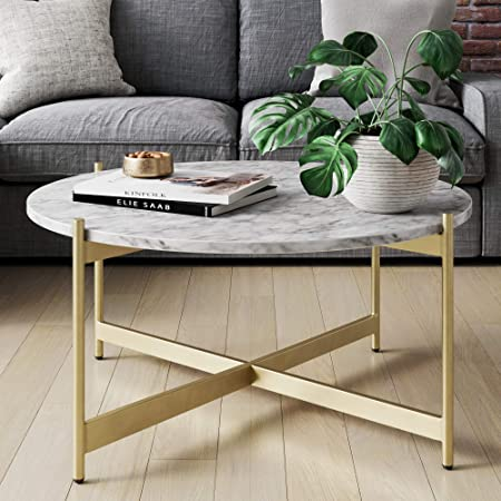 Nathan James Piper Faux Marble Round Modern Living Room Coffee Table