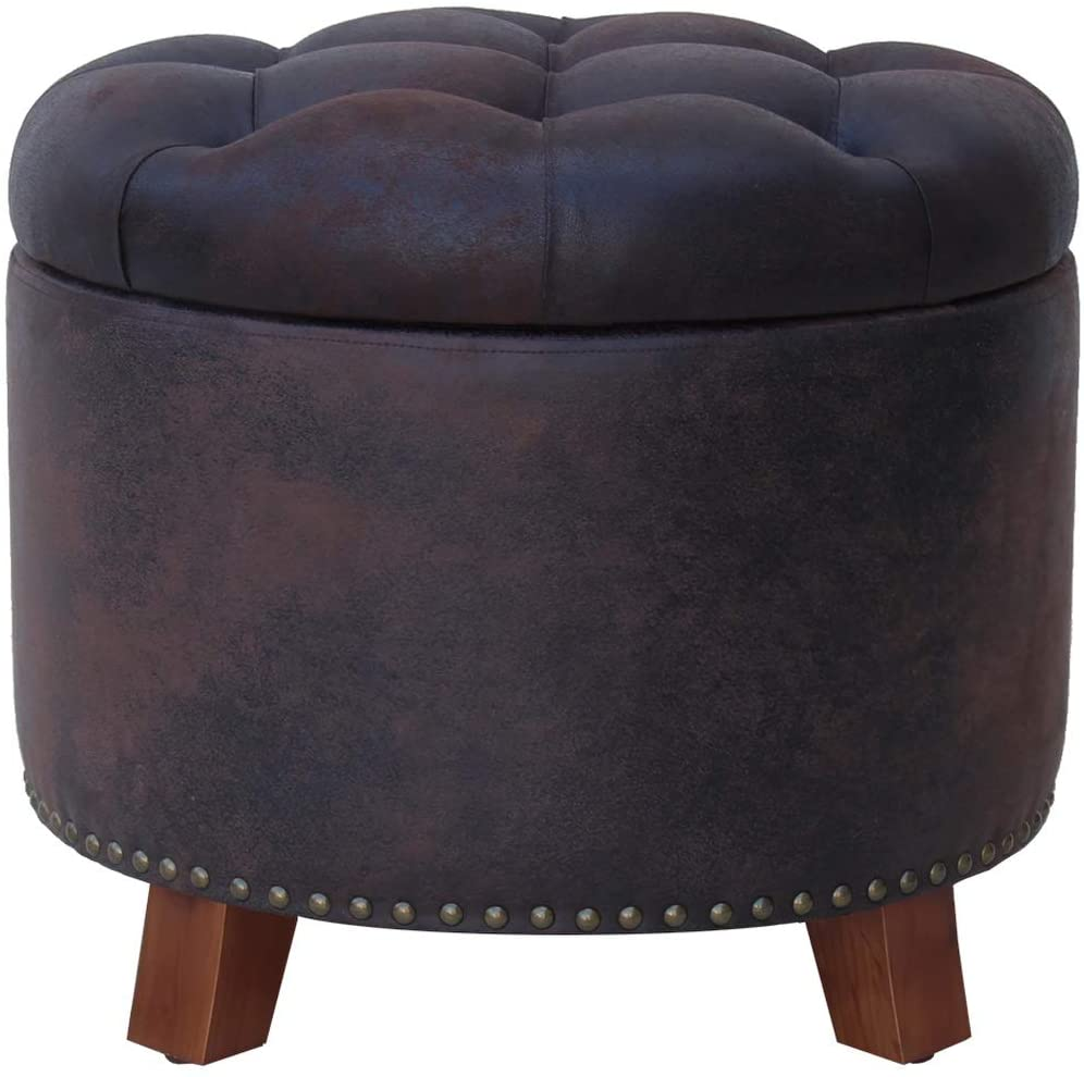Nost & Host 19.5'' Ottoman with Storage Round Removable Button Tufted Lid Vintage Faux Leather Small Ottoman Coffee Table
