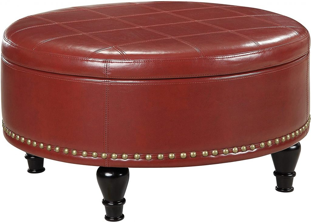 OSP Home Furnishings Augusta Eco Leather Round Storage Ottoman with Brass Color Nail Head Trim and Deep Espresso Legs