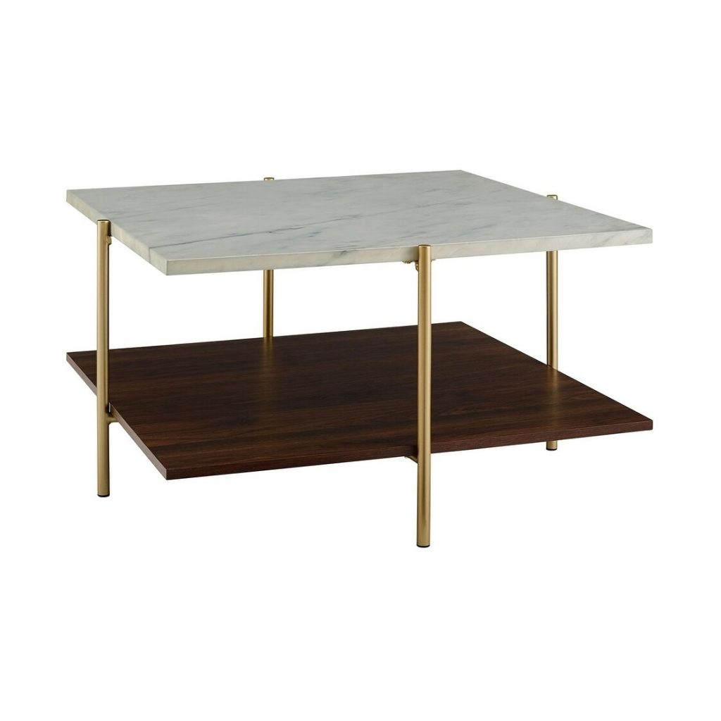 32 in. Marble and Gold Simone Square Coffee Table