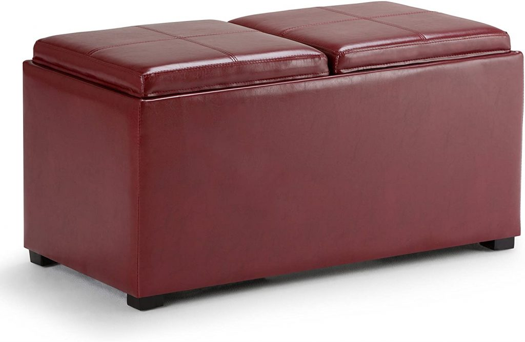 SIMPLIHOME Avalon 35 inch Wide Rectangle 5 Pc Storage Ottoman with 2 serving Trays in Upholstered Radicchio Red Faux Leather