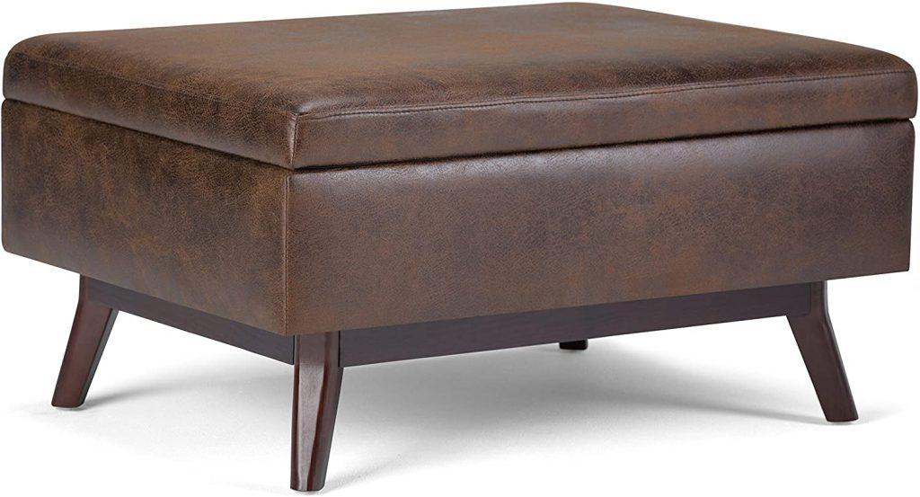 SIMPLIHOME Owen 34 inch Wide Rectangle Coffee Table Lift Top Storage Ottoman