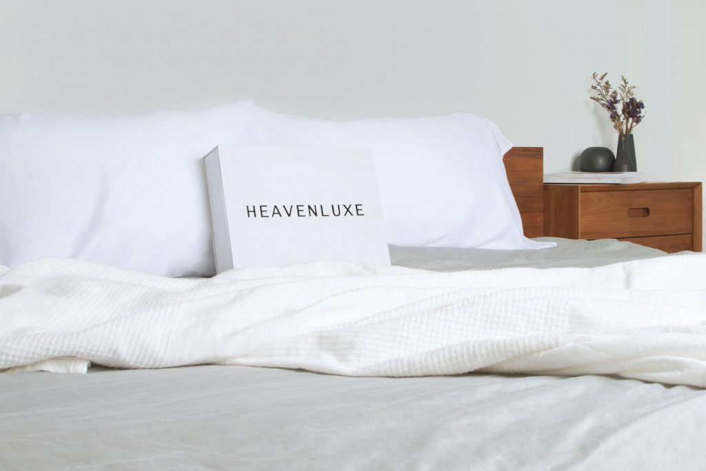 Heavenluxe bed sheets on a bed