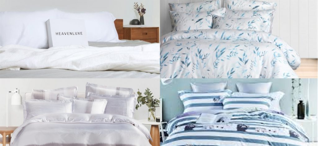 photo collage of beds covered by different bed sheet brands in Singapore